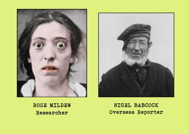 Portrait photgraphs of office staff members - Rose Mildew (researcher) and Nigel Babcock (overseas reporter)