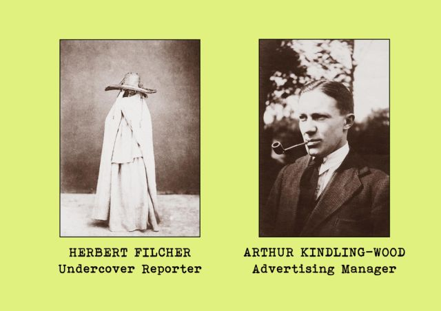 Portrait photgraphs of office staff members - Herbert Filcher (undercover reporter) and Arthur Kindling-Wood (advertising manager)