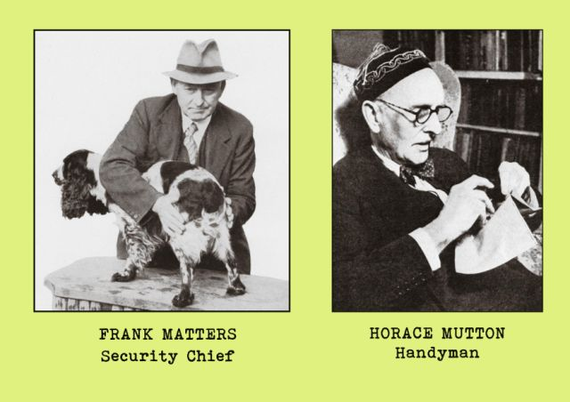 Portrait photgraphs of office staff members - Frank Matters (security chief) and Horace Mutton (handyman)