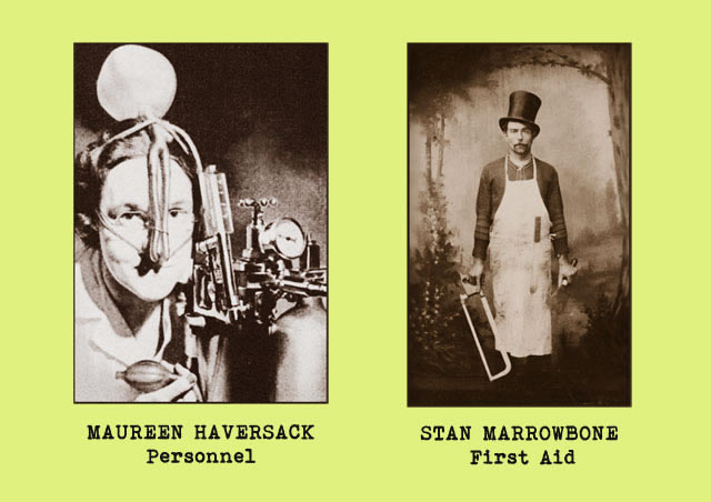 Portrait photgraphs of office staff members - Maureen Haversack (personnel) and Stan Marrowbone (first aid)